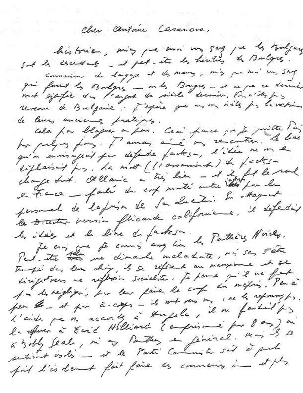 L.A.S. adressée à Antoine Casanova. Versailles, [août 1971]. 1 page et demie in-4, avec enveloppe.. GENET Jean