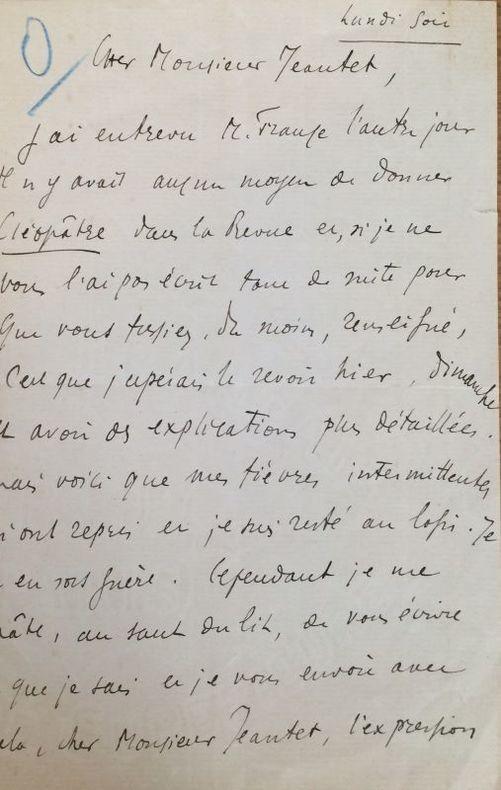 Lettre autographe signée adressée à M. Jeantet. Sans lieu, ni date « lundi soir » [1908 ?]. 1 page  in-8. Déchirure à la pliure du feuillet double.. ...