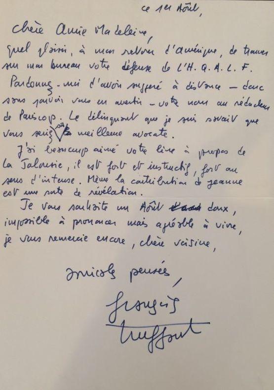 Lettre autographe signée adressée à [Madeleine Chapsal]. Sans lieu, ni date « 1er août » [1977]. 1 page in-4, au dos d'une grande carte illustrée.. ...