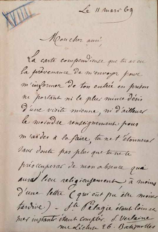 Lettre autographe signée adressée à Edmond Lepelletier. Paris, 11 mars 1869. 1 page in-12.. VERLAINE Paul