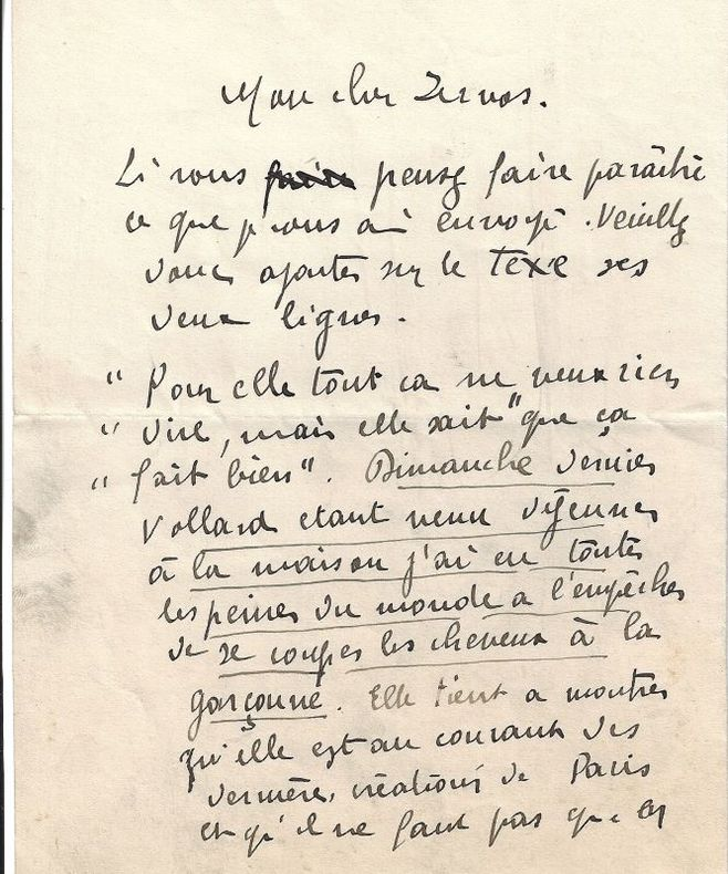 L.A.S. adressée à [Christian] Zervos. Rueil-la-Gadelière, sans date. 1 p.  petit in-4.. VLAMINCK Maurice de
