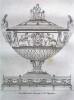 Recueil de décorations intérieures, comprenant tout ce qui à rapport à l'ameublement, comme vases, trépieds, candélabres, cassolettes, lustres, ...